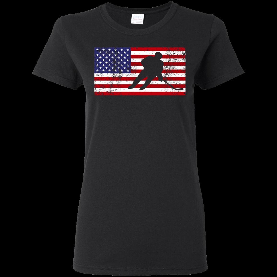 American Flag Hockey Patriotic Ice Skating Cool T shirt hoodie sweater Women 5.3