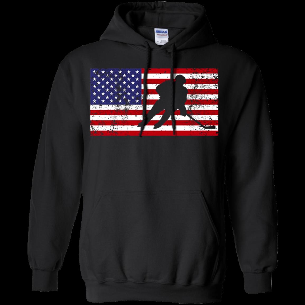 American Flag Hockey Patriotic Ice Skating Cool T shirt hoodie sweater Hoodie