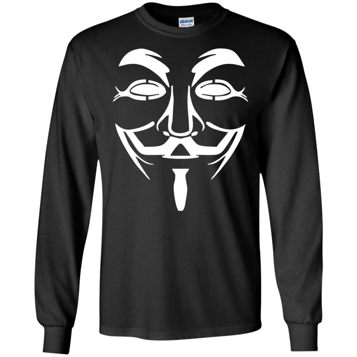 Anonymous Face Mask Anonym Black Hat T-Shirt Long Sleeve 240