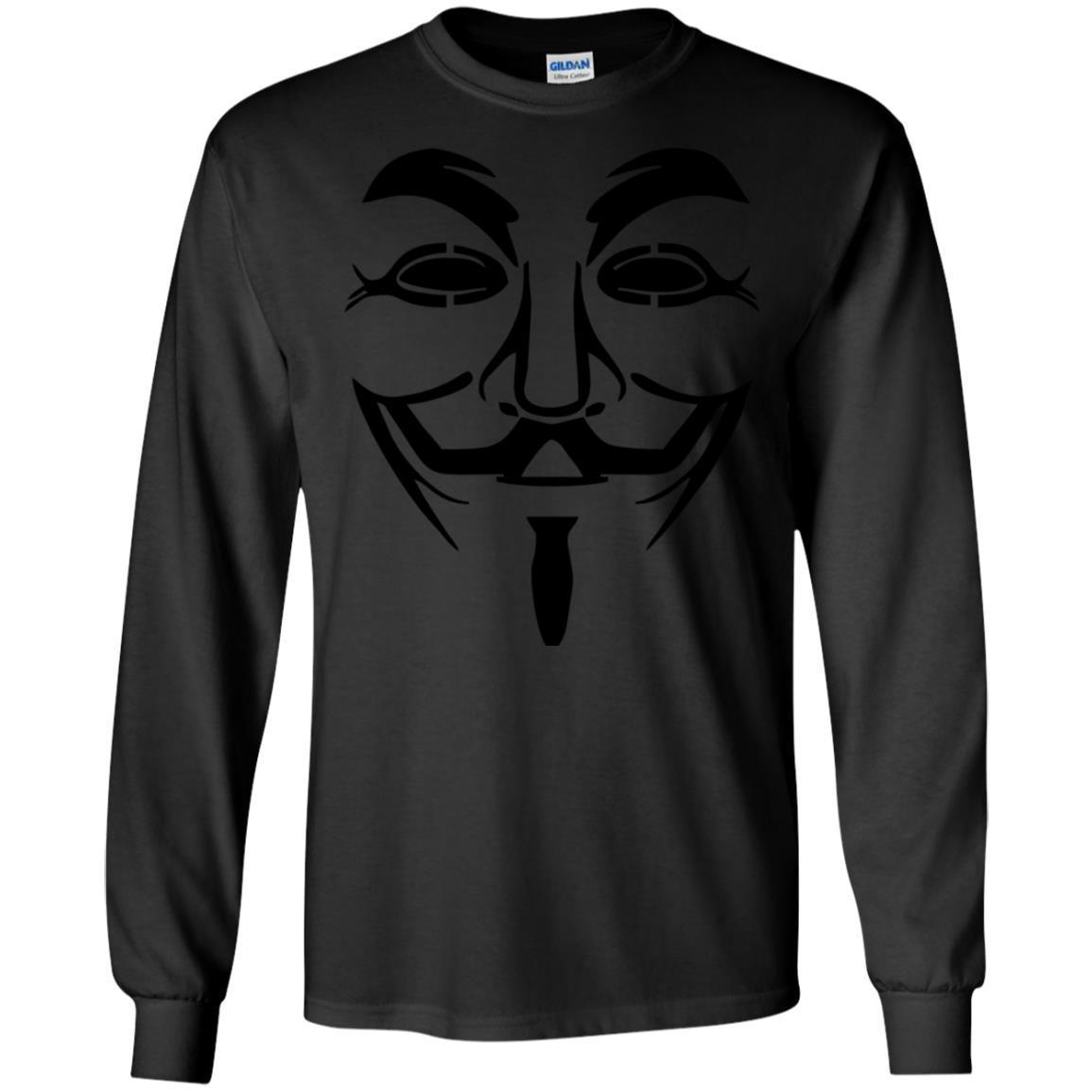 Anonymous Face Mask Logo Black Hat Hackers T-Shirt Long Sleeve 240