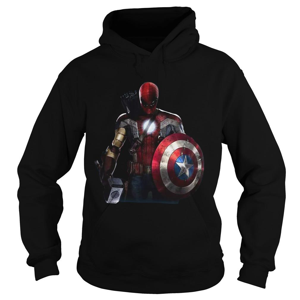 Captain America Ironman Thor Spiderman and Hawkeye Super hero all in one shirt Hoodie