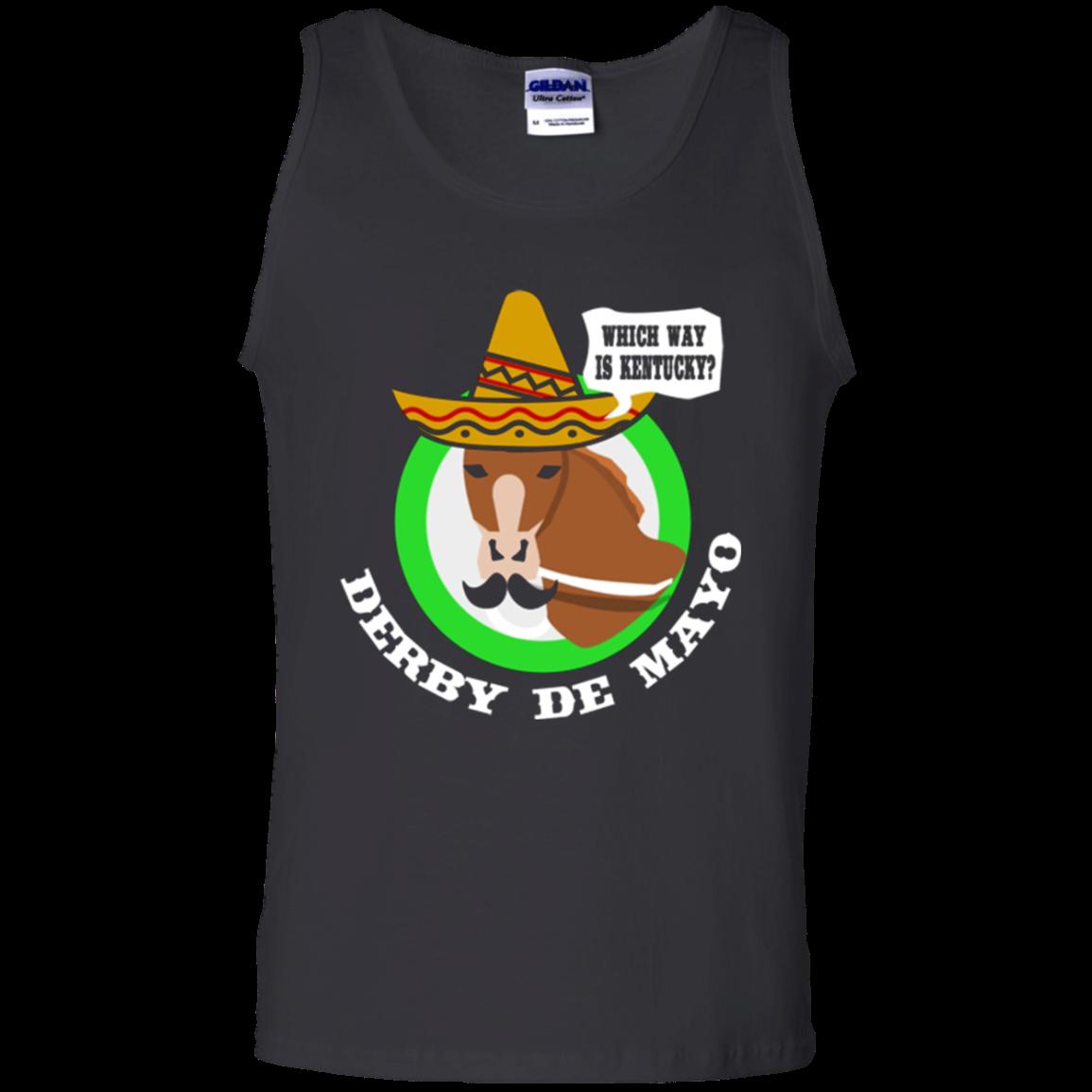 Derby De Mayo Kentucky Horse Race Sombrero Mexican shirt Cotton Tank Top Men