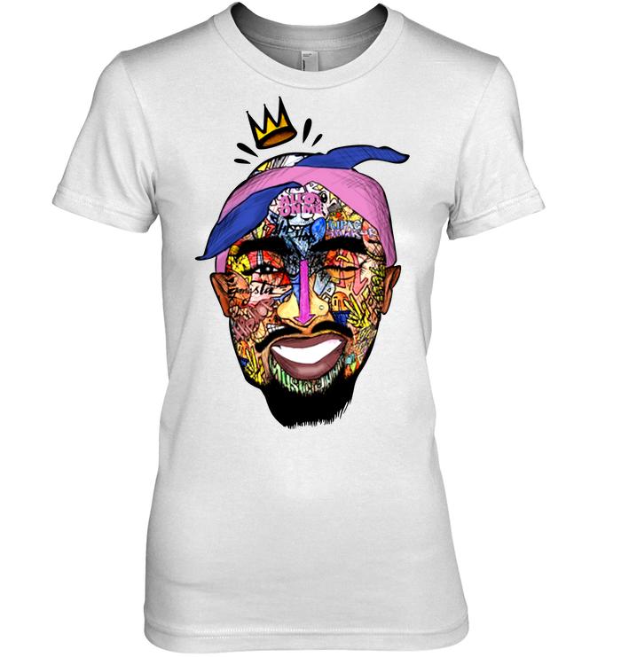 Tupac Shirt - Tupac Shakur Face Women Hanes