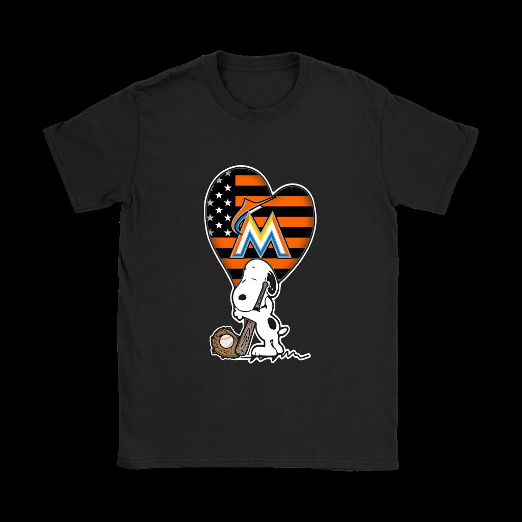 Miami Marlins Snoopy Baseball Sports Shirts Women