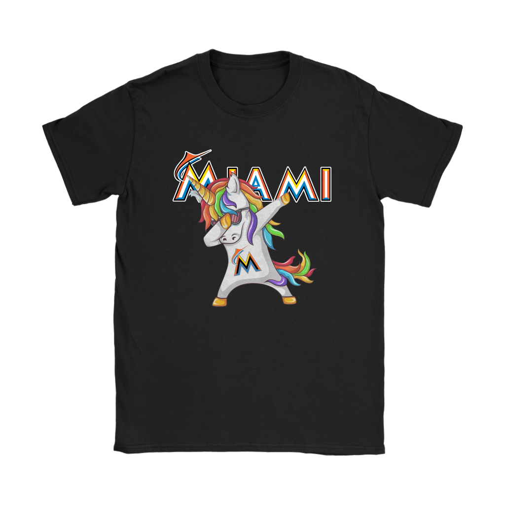 Miami Marlins Unicorn Dabbing Baseball Sports Shirts Women